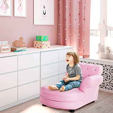 Costzon Kids Sofa, Children Chaise Lounge with Wood Frame & Leather Surface, Toddler Couch for Kids Room, Kindergarten, L
