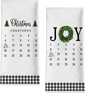 Seliem Christmas Countdown Calendar Kitchen Dish Towel, Xmas Joy Wreath Pine Tree Bath Fingertip Towel Tea Bar Hand Drying...
