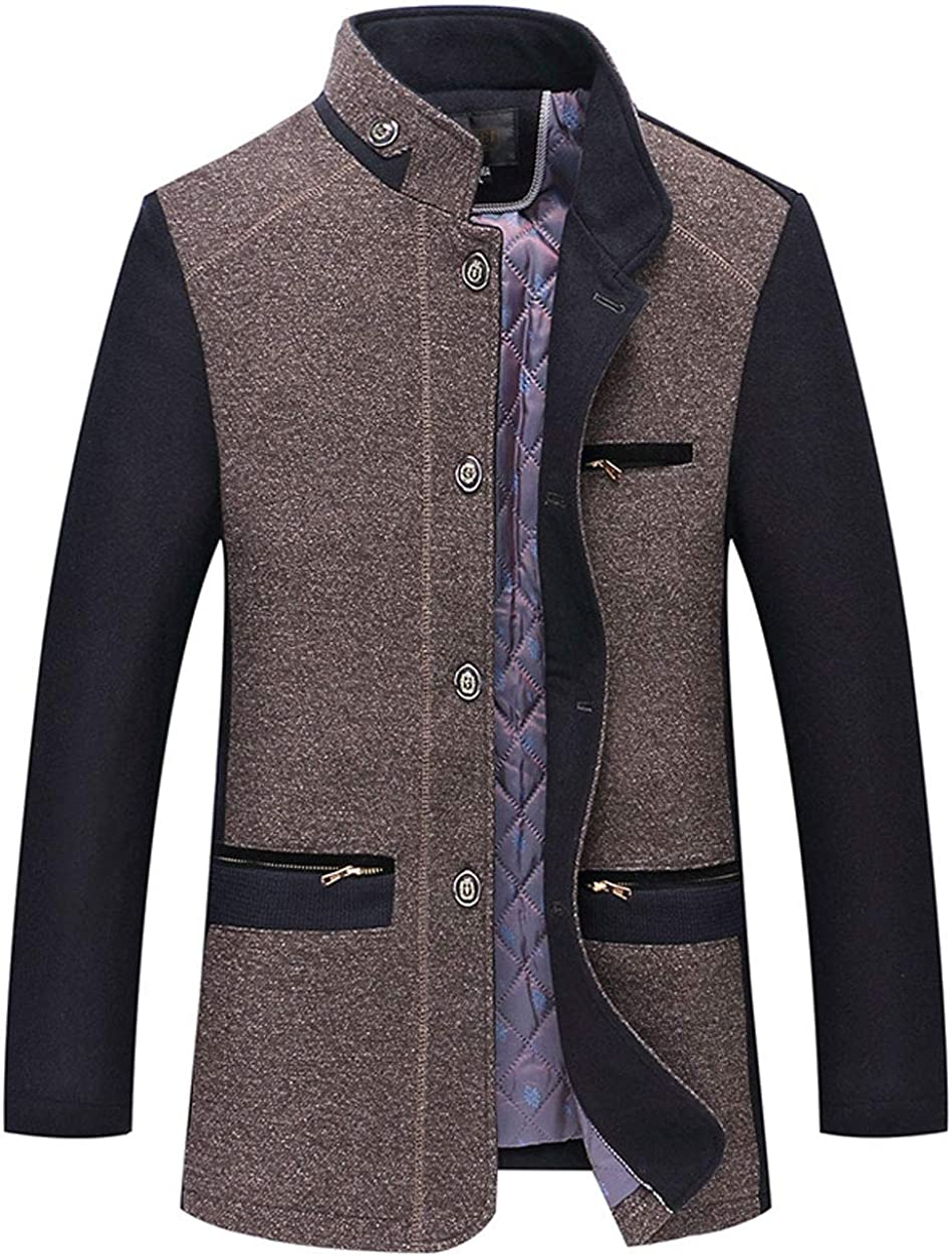 ebossy Men's Stand Collar Military Contrast Wool Blend Coat Quilted Lined Jacket