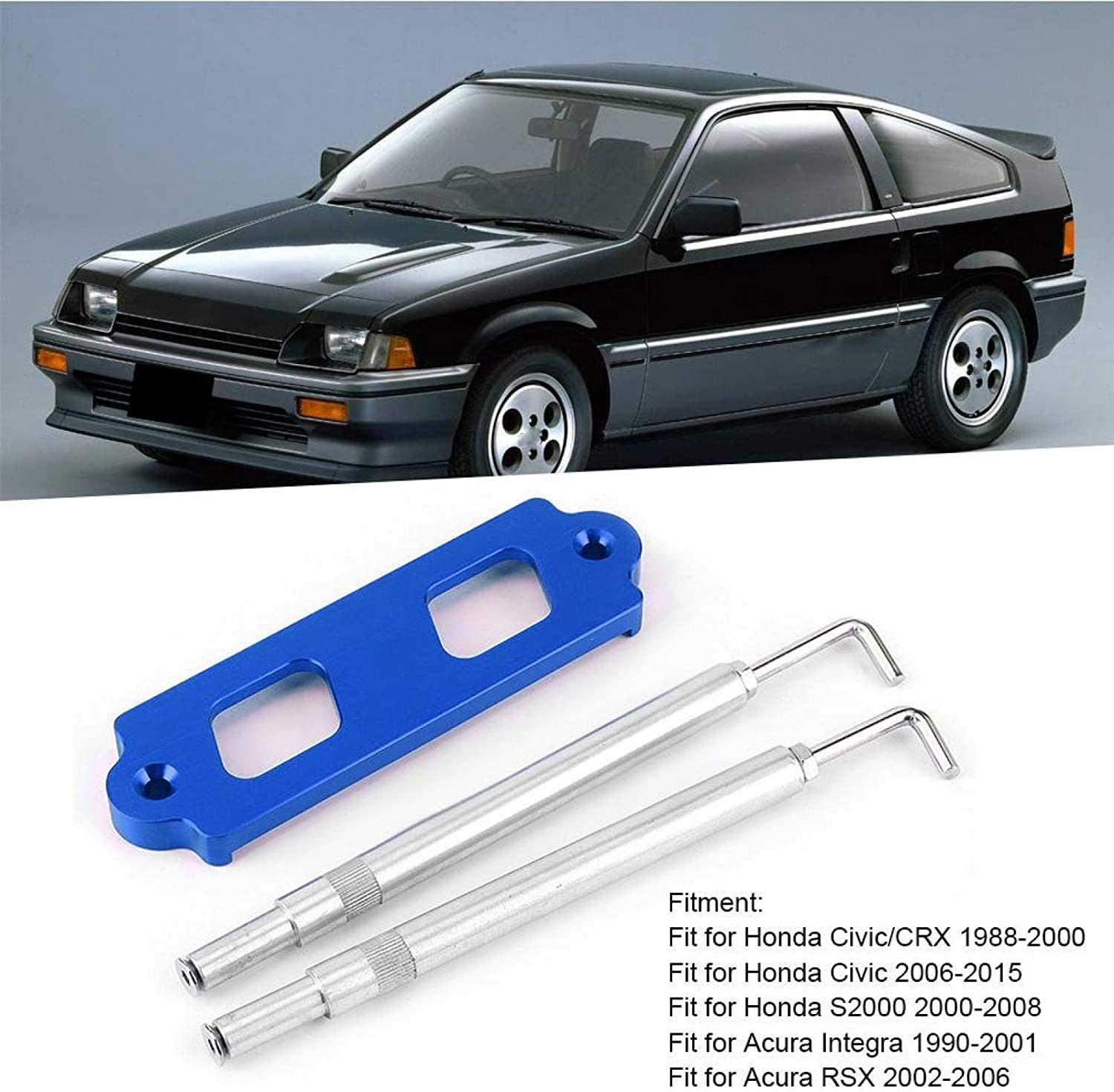 Blue Car Battery Holder Battery Tie Down Kit Hold Down Rod Bracket with Hooks Fit for Honda Civic//CRX
