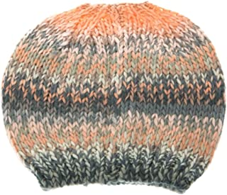 Colorful Crochet Knit Messy Mom Bun Beanie Toboggan Hat for Women Ponytail Hole
