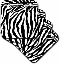 3dRose CST_25731_4 Black and White Zebra Print-Ceramic Tile Coasters, Set of 8