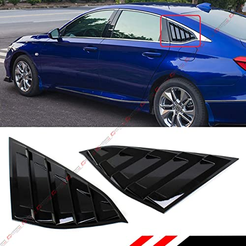 Cuztom Tuning Gloss Black JDM Style 1/4 Quarter Panel Rear Side Window Louver Vent Shade Fits for Compatible with 201...