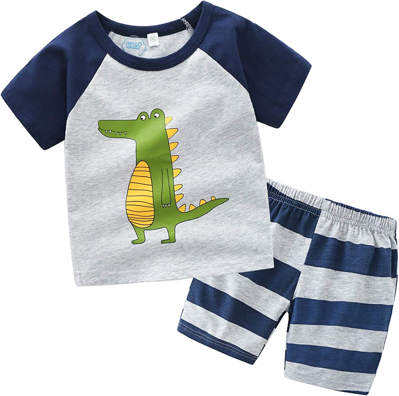XINXINHAIHE Kid Boy Summer Set 2pcs Cartoon Short Sleeve T-Shirt+Stripe Elastic Shorts