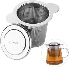 OUNONA Infusor de Te Filtros para Te?Acero inoxidable 304 con la tapa para las tazas, las tazas, y los potes flojos del té del grano de la hoja