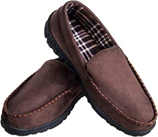 Men's Cozy Memory Foam Moccasin Slippers Microsuede Slip-on Slippers Anti-Slip Loafers Shoes Indoor Outdoor