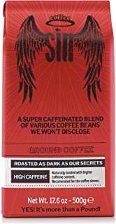 Coffee SIN Performance Coffee | The World's Strongest Coffee with the Highest Caffeine Content | Ground. 17.6 Oz