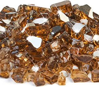 FutureWay Fire Glass for Fire Pit, 10 Pound Amber Brown Reflective Fire Glass Rocks for Indoor and  Outdoor Fireplace Fire Table