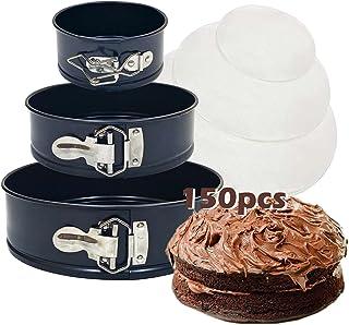 "Springform Cake Pan Set,Cheesecake Bakeware 3 Pcs 4"" 7"" 9"",Leakproof Non-stick Cake Round Oven Mould,150pcs Baking Paper ,..."
