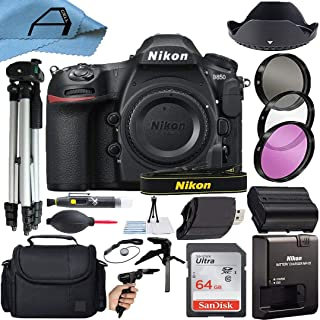 Nikon D850 DSLR Camera Body 45.7MP CMOS Sensor with SanDisk 64GB Memory Card, Case, Tripod, Filters and A-Cell Accessory B...