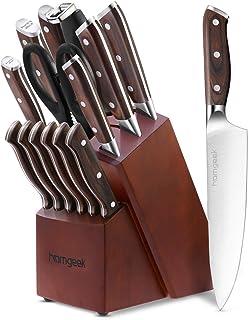Homgeek Couteaux de Cuisine, Ensemble de Couteaux Professionnels avec Bloc en Bois, German Stainless Steel Lot de Couteaux...