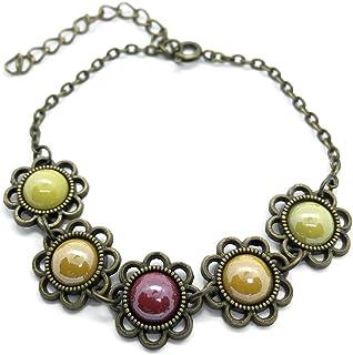 Bracciale giallo, arancione e bronzo, Cabochon in ceramica, Fiori, Bracciale regolabile, Regalo per donna, Regalo di Natal...