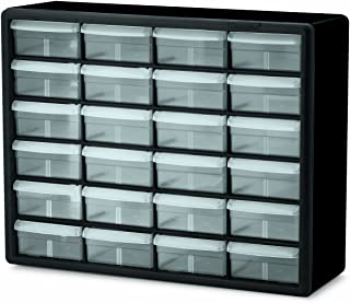 Akro-Mils 10124 24 Drawer Plastic Parts Storage Hardware and Craft Cabinet, 20-Inch x 16-Inch x 6.5-Inch, Black