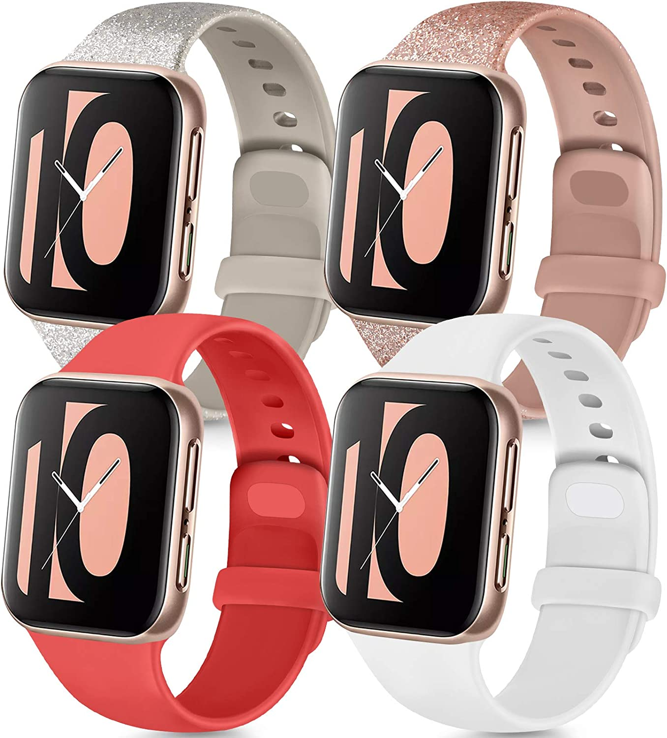 Tobfit 4 Pack Compatible for Apple Watch 38mm 42mm 40mm 44mm Bands, Soft Sport Replacement Watchband for iWatch Series 6 5 4 3 SE (Glitter Rose/Glitter Silver/Red/White, 42mm/44mm S/M)
