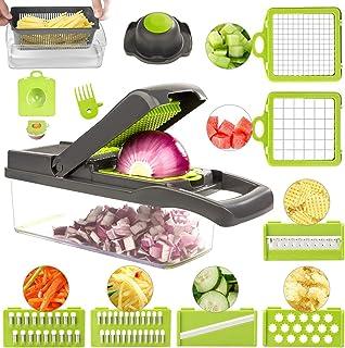 FUKTSYSM Mandoline Trancheuse - 13 en 1 Coupe-Légumes Multi-Fonction Trancheuse, Découpe Les Fruits et Les légumes, Mandol...