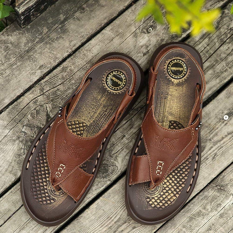 Fuxitoggo Men's Leather Slippers Trend Manual Beach shoes Non-slip Wear Resistant Clip Toe Flip-Flop Dual Use Men's Sandals (color   Brown, Size   UK 6.5)