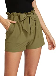 Romwe Women's Casual Elastic Waist Bowknot Summer Shorts Pockets