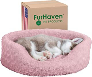 Furhaven Pet Dog Bed - Round Oval Cuddler Ultra Plush Faux Fur Nest Lounger Pet Bed for Dogs and Cats, Pink, Medium