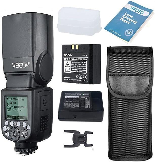 Godox V860II-C Flash Speedlite con Incorporado 2.4G con E-TTL Flash Automático + Li-on Batería + Flash Difusor Softbox para Canon 6D 50D 60D 1DX 580EX II 5D Mark II III