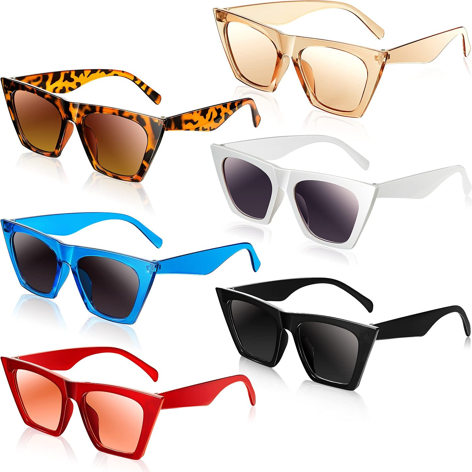 6 Pairs Square Cateye Vintage Sunglasses Classic Free shipping Bombing new work New Retr