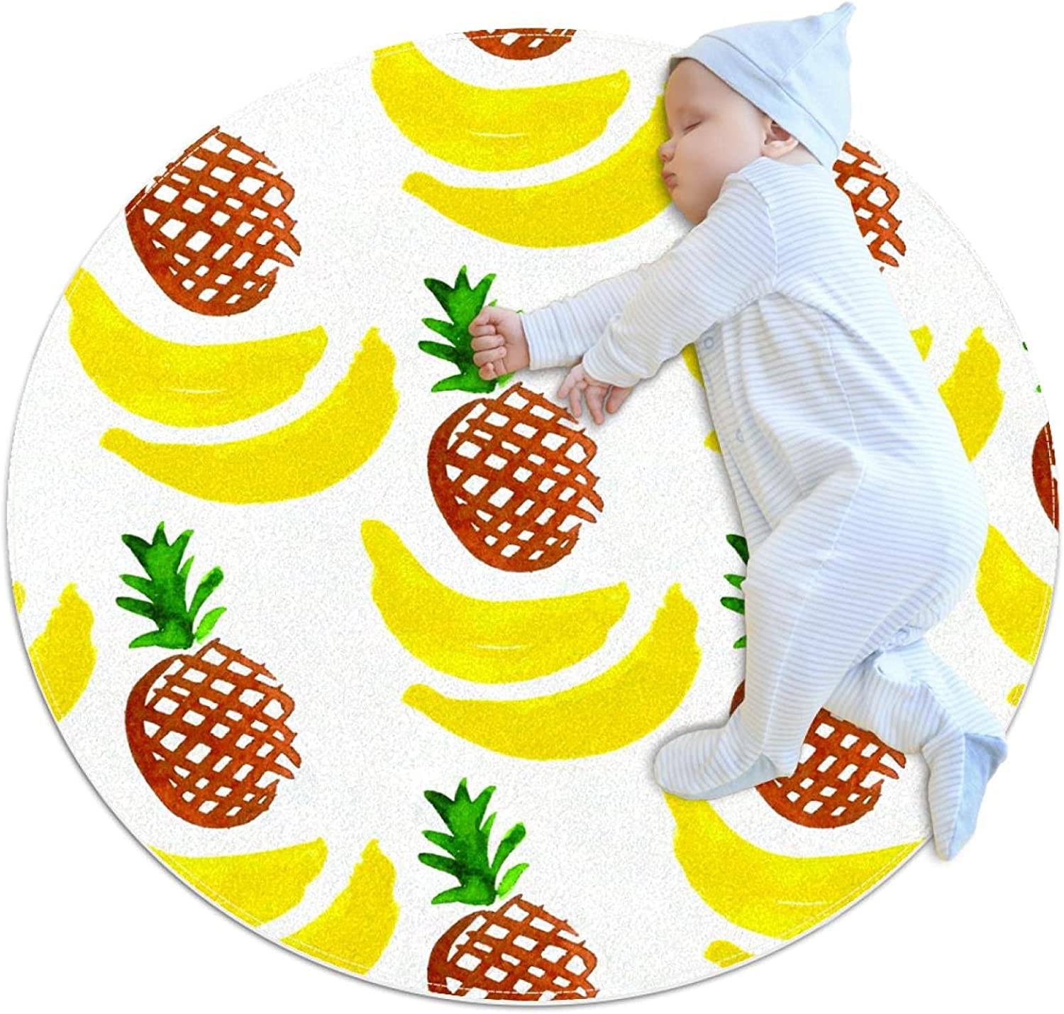 Bananas Purchase Round Area Rug Pattern Yoga Children Ranking integrated 1st place Mat