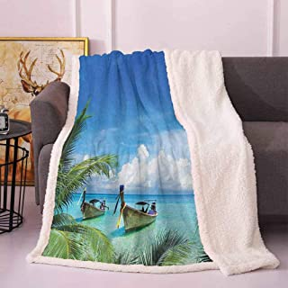 Travel Flannel Blanket Exotic Hawaiian Beach with Palm Trees and Fishing Boats Paradise Picture Throws and Blankets for Sofa Blue Green Turquoise 60