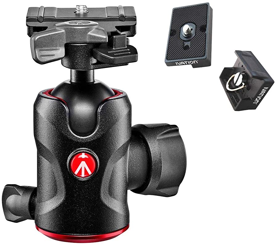 Manfrotto 496-BH Professional Centre Ball Head with Two Replacement Quick Release Plates for The RC2 Rapid Connect Adapter