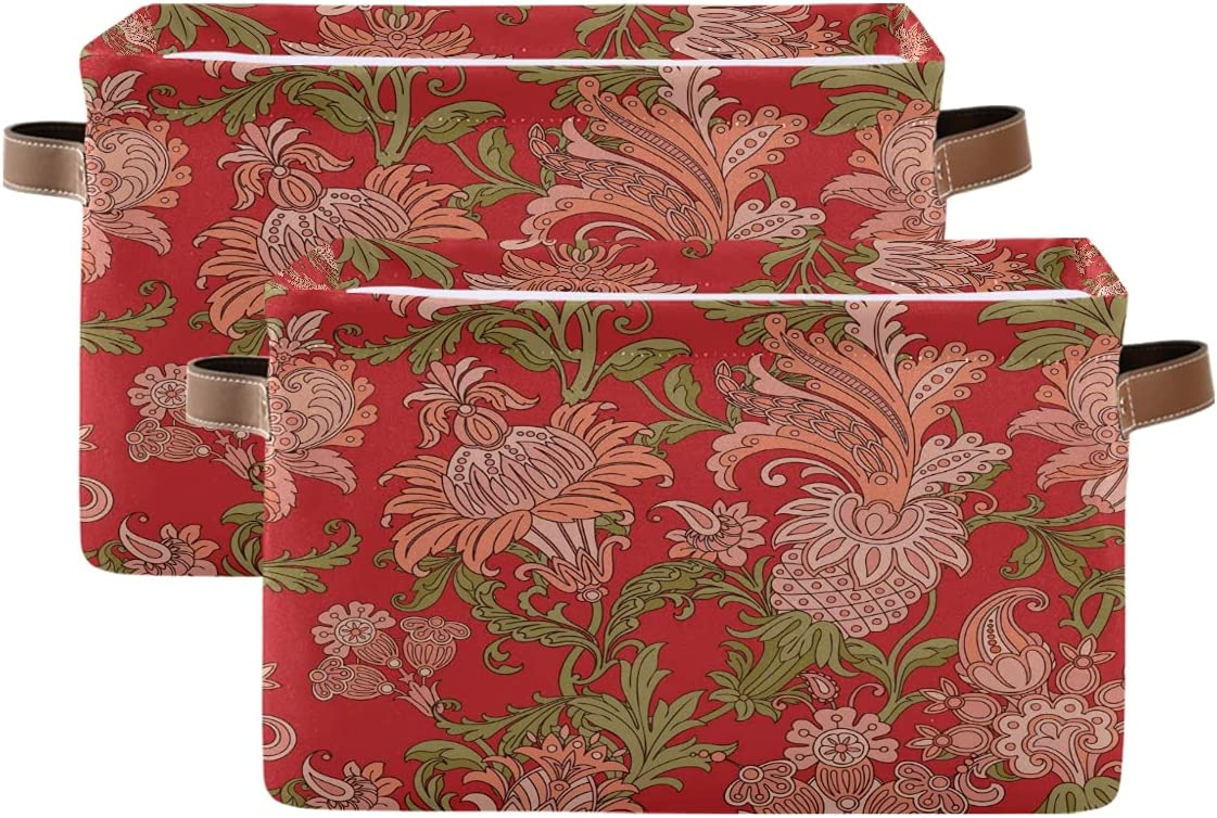 Year-end annual account ADAKing Storage Basket low-pricing Ethnic Flower Pattern Paisley 2 Floral Pc