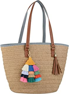 COOFIT Straw Bags Beach Bags Pompom Shoulder Bags Summer Woven Bags Tassel Bags