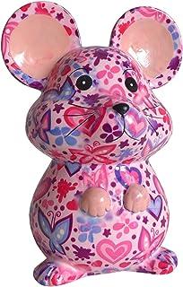 Pomme Pidou Skarbonka w kolorze różowym z motylami, skarbonka, myszy, świnka skarbonka, prezent pieniężny