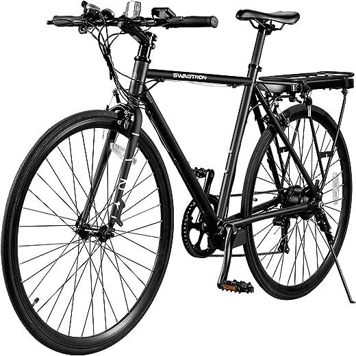 SWAGTRON EB12 Electric Bike | City Commuter eBike w/ 700c Wheels, 7-Speed Shimano Gears, Swappable Battery | Classic Diamond Frame & Flat Bar Design, Black, one Size