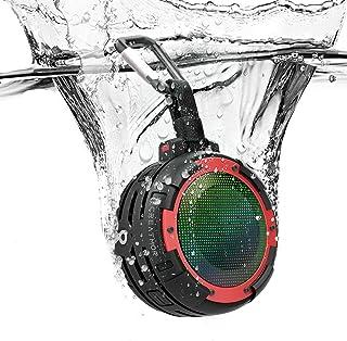 Portable Bluetooth Speaker,CREATMOR IPX8 Waterproof Bluetooth Wireless Speaker with 4 LED Light Modes, Built in Mic, Super...