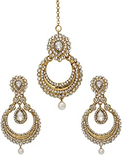 Traditional Look Gold Plated Crystal Pearl Head Tikka Accessories Women Jewelry