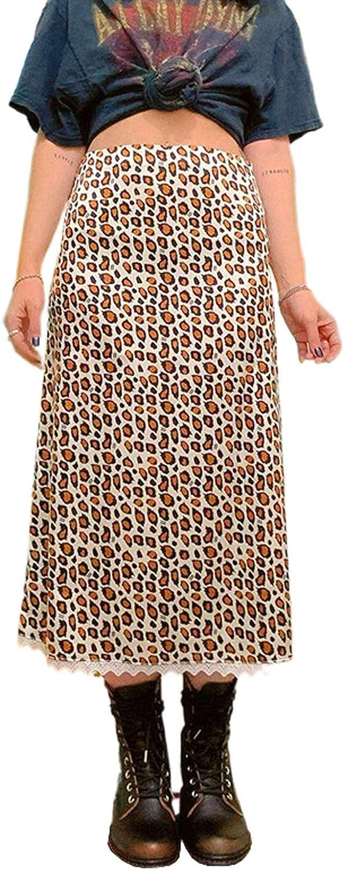Women's High Waist Bodycon Midi Skirt Casual Leopard Print Pencil Skirts Lace Hem Knee Length Maxi Skirt Streetwear