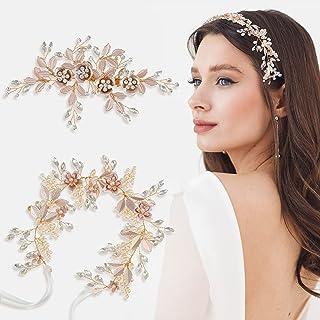 2 Pieces Wedding Bride Hair Flower-leaf Bridal Headpiece Rhinestone Wedding Headband Handmade Pearl Hair Band with Rhinest...