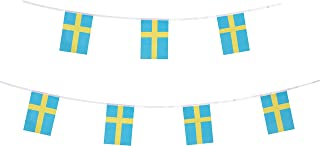 LoveVC 100 Feet Small Mini Sweden Swedish Flags Banner String,Decorations Supplies for Swedish Theme Party Celebration Events
