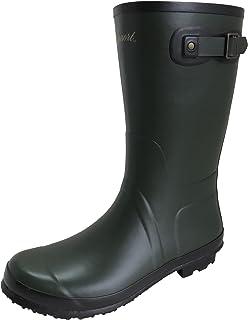 [アマート] メンズ ベルト ハーフ ブーツ 長靴 雨靴 通勤 アウトドア 親子 ファミリー 3色 AMT-1102 (L(26.0 cm~26.5 cm), カーキ)