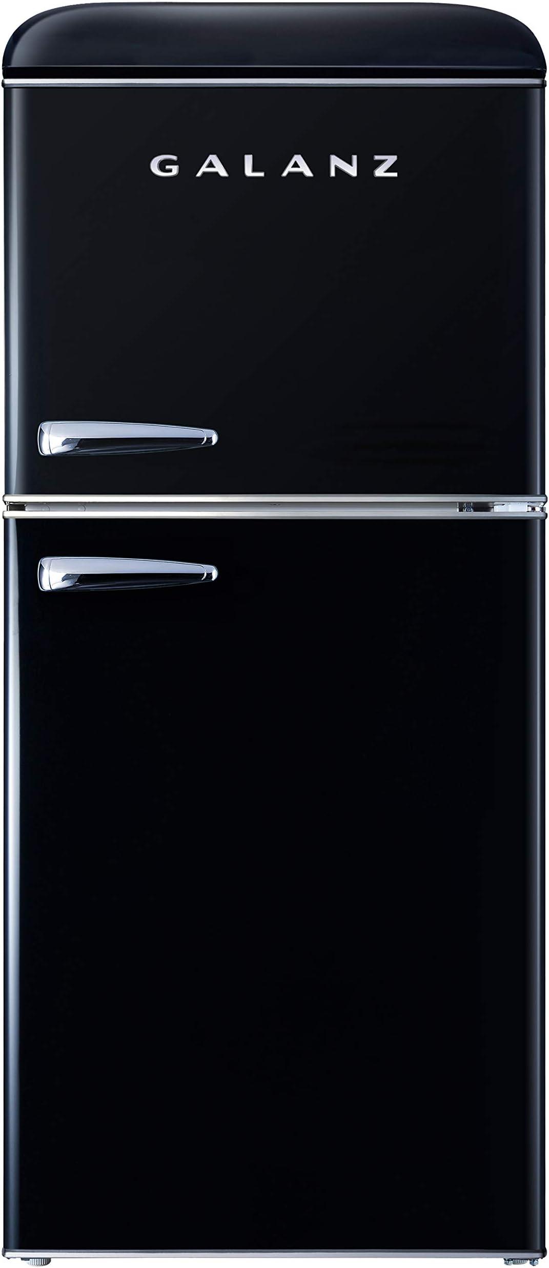 Galanz GLR40TBKER Retro Compact Refrigerator, Mini Fridge with Dual Doors, Adjustable Mechanical Thermostat with True Freezer, 4.0 Cu Ft, Black