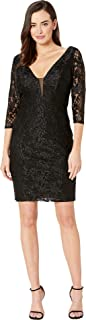 Women's Short Slim Princess Lace Dress with Illusion Plunging Neckline and Long Sleeves