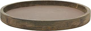 Stonebriar Rustic Natural Wood and Metal Candle Holder Tray, Brown, Large