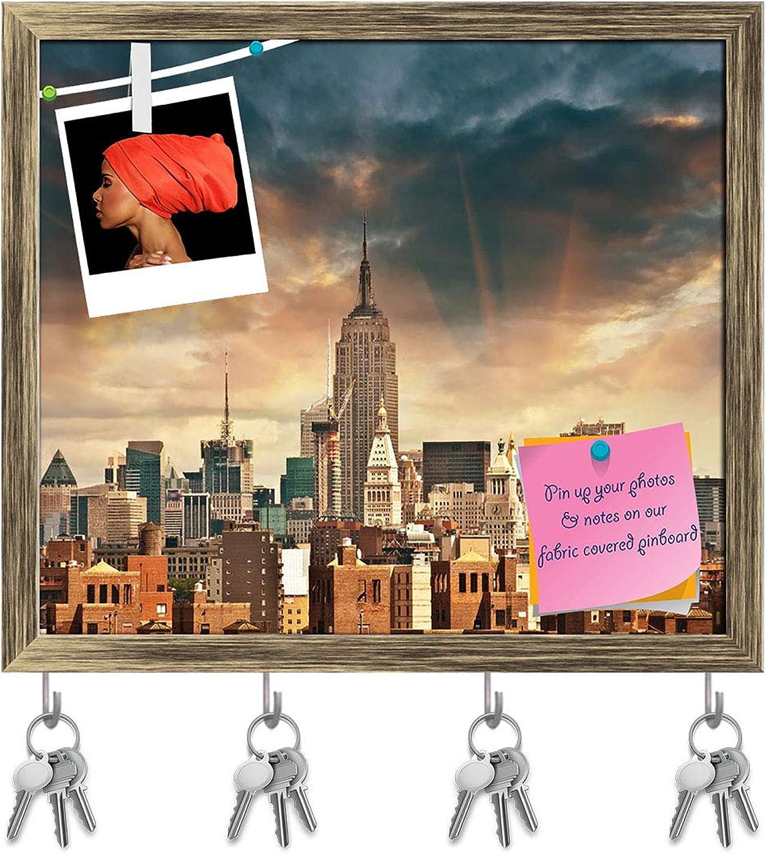 Artzfolio Manhattan Skyscrapers in New York City, USA Key Holder Hooks   Notice Pin Board   Antique golden Frame 18.4 X 16Inch