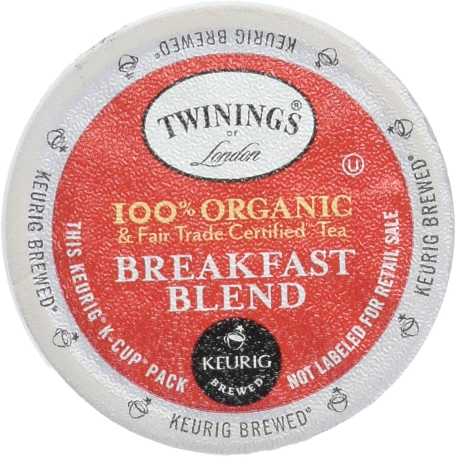 Twinings of London Organic and Fair Trade Certified Breakfast Blend Tea K-Cups for Keurig, 72 Count
