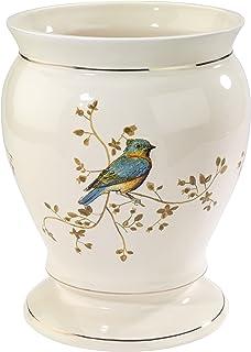 Avanti Linens Gilded Birds Waste Basket, Ivory