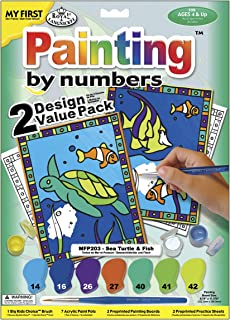 Royal Brush My First Paint By Number Kit 8.75 by 11.375-Inch-Sea Turtle and Fish, 2/pkg (422094)