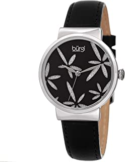 Burgi Sparkling Flower Women's Fashion Watch – Amazing Sunray Dial with Glitter Powder Flower On Leather Strap - BUR191