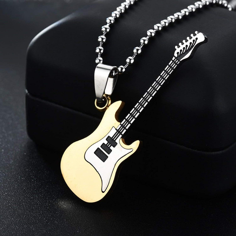 Men Guitar Pendant Long Chain Necklace Hip Hop Jewelry Music Lover Gift for Women Girls Teens