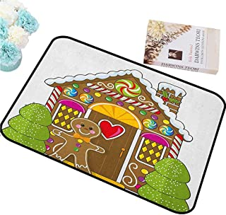HCCJLCKS Waterproof Door mat Gingerbread Man Cute Gingerbread House with Colorful Candies Cookie Man Graphic Figure for Bathroom W30 xL39