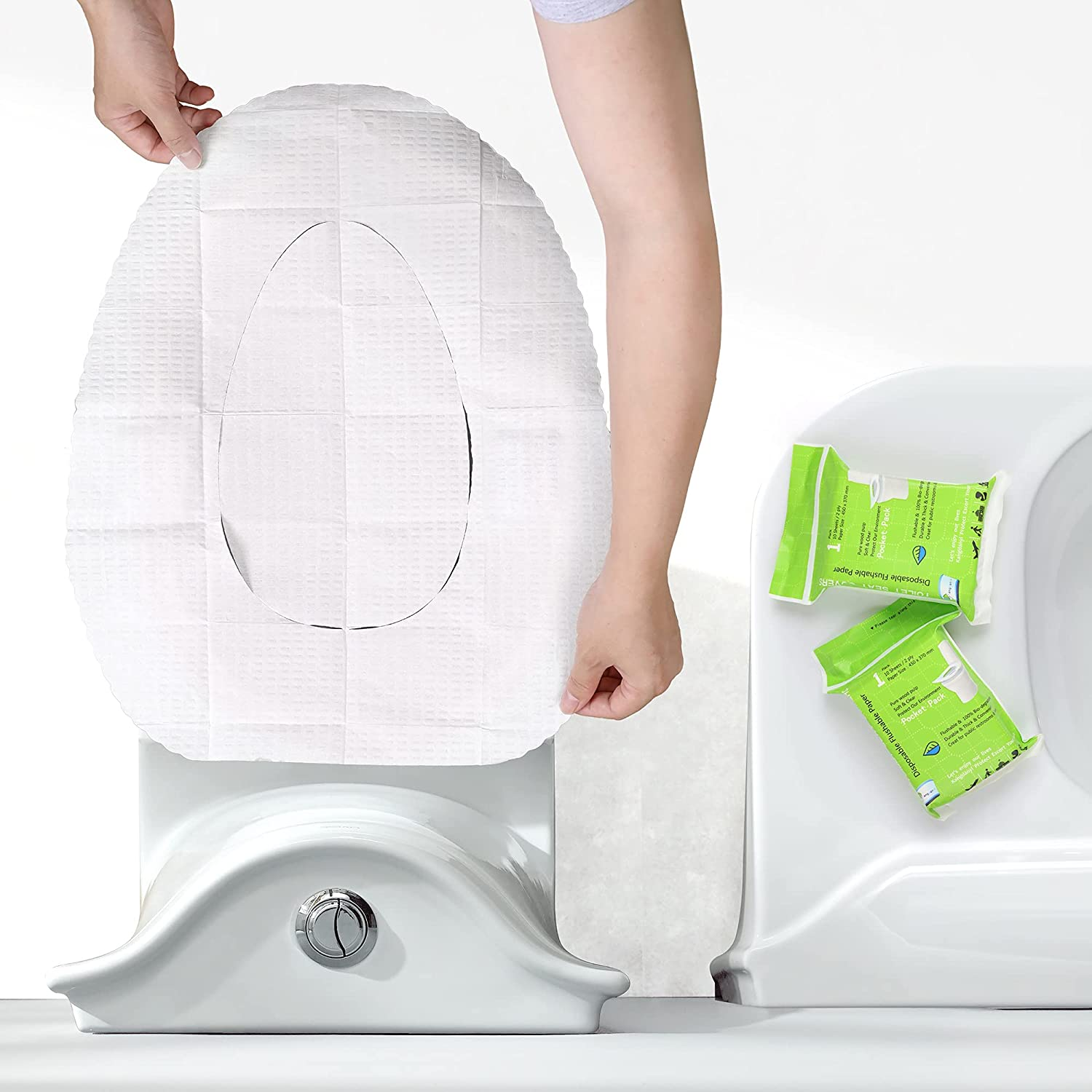 Toilet Seat Covers Paper Disposable Flushable -(100 Pack) for Adults and Kids Potty Training, 100% Biodegradable - Great for Travel, Airplane Essentials, Public Bathroom, Camping