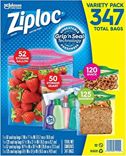 Variety Pack of 347 Count, Sandwich, Double Zipper Bag