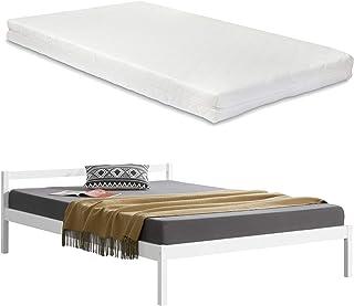 [en.casa] Lit Double en Pin avec Matelas en Mousse à Froid et Housse Polyester avec Sommier à Lattes 180 x 200 cm Blanc